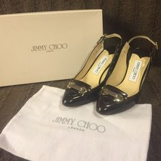 Jimmy Choo sling backs Jimmy Choo brown slingbacks water snake brown with gold accents on the heel. I only wore these one time. Includes original box and dust cover. The shoes are in excellent condition. Jimmy Choo Shoes Heels