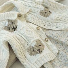 Knitting pattern for Cable and Teddybear Jacket for baby with teddy bear motif. One of the patterns in Baby Cashmerino 1 by Debbie Bliss . See rest of patterns at Deramores ships to US (affiliate link) tba Baby Boy Knitting Patterns, Knitting For Kids, Baby Patterns, Knit Patterns, Teddy Bear Jacket, Knit Baby Sweaters, Baby Cardigan, Baby Boy Sweater, Baby Kind
