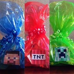 12 Minecraft TRIO Themed Birthday Party Favor Bags Ready to Hand Out on Etsy, $39.99