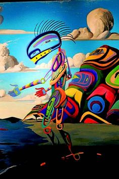 Art by Lawrence Paul Yuxweluptun Surreal Artwork, Abstract Paintings, Canadian Art, Canadian Winter, Art With Meaning, Native Design, Native American Artists, Art Walk, Indigenous Art