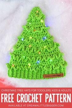 Crochet Christmas Tree Hats Free Pattern ⋆ Dream a Little Bigger Christmas Tree Hat, Crochet Christmas Hats, Christmas Beanie, Christmas Crochet Patterns, Holiday Crochet, White Christmas, Christmas Angels, Christmas Christmas, Crochet Tree