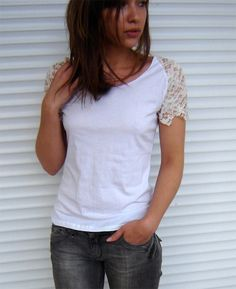 customization of white T-shirt with lace