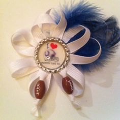 Melly Belle Colts football bottlecap bow with Swarovski crystal