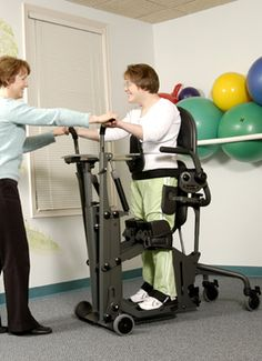 The EasyStand Glider is the only stander to combine lower-body range of motion with upper-body strengthening; while still receiving all the health benefits of passive standing. EasyStand standing frames have support options to make standing possible for those with high level spinal cord injuries, Cerebral Palsy (CP), Multiple Sclerosis (MS), and many other diagnoses.