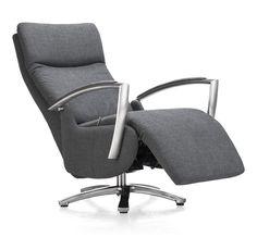 Monza, relax-fauteuil manueel in stofkeuzegroep 2, viltgrijs met stervoet in rvs, kortste zitdiepte en hoogste voet. 1099€