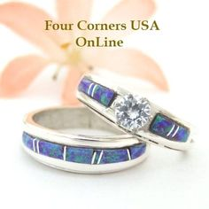Four Corners USA Online - Size 7 1/2 Engagement Bridal Wedding Ring Set Purple Fire Opal Native American Silver Jewelry WS-1445, $225.00 (http://stores.fourcornersusaonline.com/size-7-1-2-engagement-bridal-wedding-ring-set-purple-fire-opal-native-american-silver-jewelry-ws-1445/)