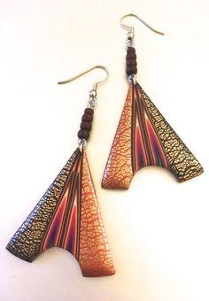 Handmade Golden Fire Dangle Earrings