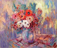 Anemones in a Vase, Henri Lebasque, c.1925-1930.
