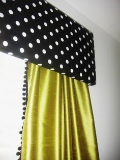 baby girl's sophisticated nursery window treatments consist of bright green nursery curtains with a tailored upholstered valance. The curtain panels look amazing with the black and white polka dots! Nursery Window Treatments, Custom Window Treatments, Window Coverings, Green Curtains, Panel Curtains, Curtain Panels, Diy Curtains, Sophisticated Nursery, Pelmets