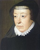 Catherine de' Medici, by François Clouet. As a widow, Catherine wore a widow's cap or a French hood. At the back of her ruff stood a high bl...