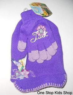 TINKERBELL Fairy Girls HAT & GLOVES Cap Mittens DISNEY