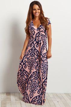 07bf93127ba Light Pink Abstract Short Sleeve Maxi Dress