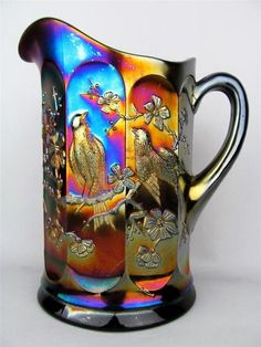 Singing Birds by Northwood Amethyst Carnival Glass Water Pitcher