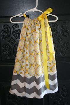 4t Pillowcase Dress White/Gray Chevron with by SuziQOriginals, $20.00