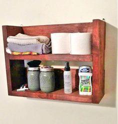 Rustic Wooden Bathroom Shelf