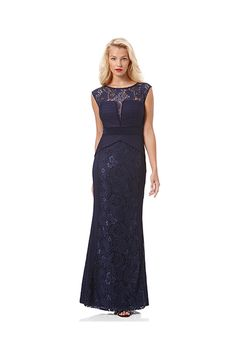 Laundry-Rib Knit and Lace Navy Gown