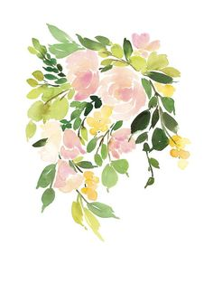 Click to see 'Flora in Peach I' on Minted.com, 30x40 poster size