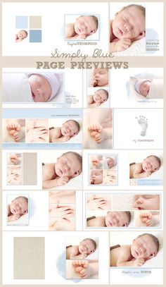 Celebrate your little boy and preserve those precious images with this sweet and simple blue and taupe photobook. Created in Photoshop, these square format, 2-page spreads (10 in all, to make a 20-page album) use drag-and-drop clipping masks which are simple to fill in Photoshop with