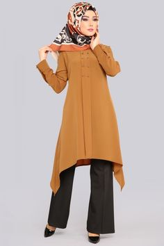 ** YENİ ÜRÜN ** Verev Kesim Tunik Hardal Ürün kodu: PL815 --> 59.90 TL Muslim Fashion, Hijab Fashion, Boho Fashion, Fashion Dresses, Nice Dresses, Casual Dresses, Burberry Dress, Modest Wear, Womens Fashion Online
