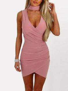 Bodycon dress clubwear womens fashion - Stylish Crisscross Choker Neck  Bodycon Mini Dress Mini Robes bd00cf445771