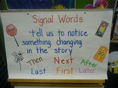 """In the past couple of weeks, we have been reading books during Reading Workshop mini-lessons and noticing the signal words that """"tell us so. Kindergarten Anchor Charts, Writing Anchor Charts, Kindergarten Writing, Teaching Writing, Literacy, Student Teaching, Teaching Ideas, 4th Grade Writing, First Grade Reading"""