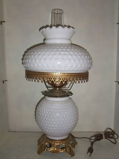 vintage milk glass | VINTAGE Hobnail White Milk Glass Gone With the Wind 3-way Hurricane ...