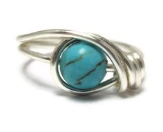 Gemstone Ring -  Turquoise Jewelry -  Custom Size Wire Wrapped Rings - Black Friday