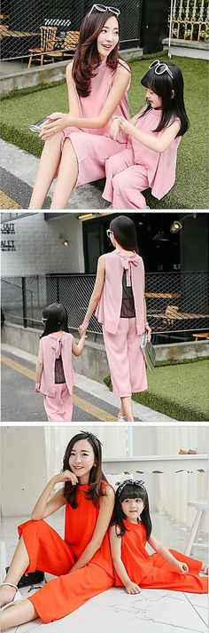 Are you one of those Moms who always thinks how to dress up your little princess so that your outfits match? Then you will like this chic mother - daughter pants suit. It comes in light pink and red at $24.99