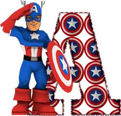 Alfabeto Decorativo: Alfabeto - Capitão America - PNG - Maiúculas.