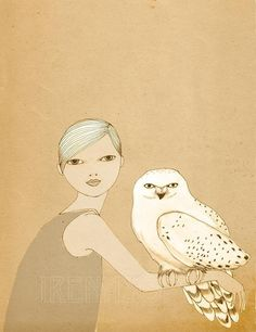 Girl and White Owl print of original drawing by IrenaSophia