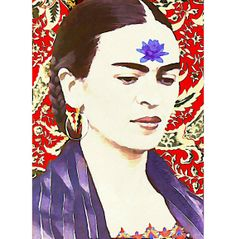 Frida Kahlo Photomontage Watercolor Waterlily Print 5x7 Original Signed Mixed Media Collage Wall Modern Home Decor Buddhist Quote via Etsy