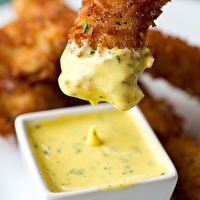 Coconut Crunch Chicken Strips with Honey-Mango Dipping Sauce by Amanda