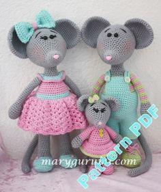 Pattern amigurumi Famille de souris au crochet