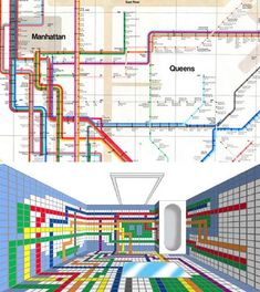 Bathroom Design that has given new meaning to 'Subway Tiles.' Lower image shows the view from ceiling.