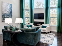 Dark Teal Blue Dining Room with Wood Beamed Ceiling : Designers' Portfolio : HGTV - Home & Garden Television