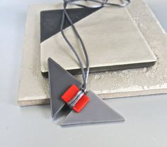 Fused Glass Geometric Gray Red Long Necklace by Glassimo on Etsy