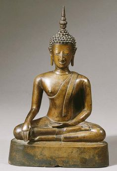 a north thai or laos, ayutthaya style, bronze figure of buddha shakyamuni LATE 17TH CENTURY