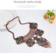 Vintage Bronze & Multicolor Diamond Decorated Hollow Out Flower Design Alloy Fashion Necklaces ,Fashion Necklaces