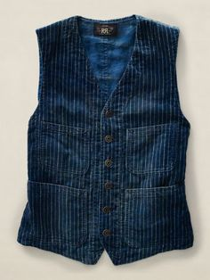 Baldwin Striped Corduroy Vest - RRL Lightweight