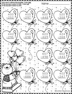Need extra subtraction practice? These ten pages focus on three-digit subtraction. Most problems require regrouping. Printables either ask for odd/eve. Math Worksheets, Math Activities, Teaching Resources, 2nd Grade Math, Addition And Subtraction, Elementary Math, Multiplication, Coloring Pages, Dj Inkers