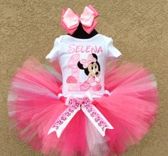 Baby Minnie Mouse Cupcake Cute Pink Girls Birthday Outfit