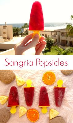 Sangria Popsicles recipe - all the deliciousness of sangria with all the fun of a popsicle. Super easy to make - just two ingredients! | www.pinkrecipebox.com