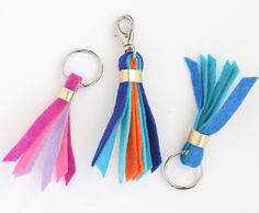Learn how to make tassel key or purse fobs out of felt. Easy to switch up the colors to suit your tastes. Make perfect bridesmaid gifts.