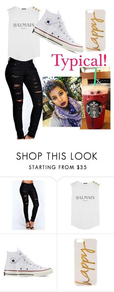 """Typical Day!"" by terriscott2015 ❤ liked on Polyvore featuring Boohoo, Balmain, Converse and Monika Strigel"
