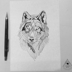 Wolf tattoo, black work lines by Broken Ink Tattoo