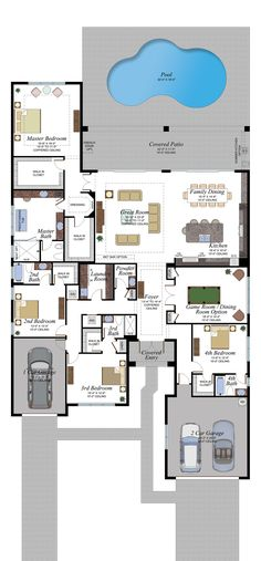 Learn more about the Napa Plan in the Berkeley Collection at Berkeley in Boca Raton. The Napa features 4 bedrooms and 4 and a half bathrooms with square feet. House Plans Mansion, Sims House Plans, House Layout Plans, Dream House Plans, Small House Plans, House Layouts, House Floor Plans, Luxury Floor Plans, Home Design Floor Plans