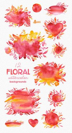 This set of high quality hand painted watercolor floral Backgrounds and shapes. Perfect graphic for wedding invitations, greeting cards, photos,