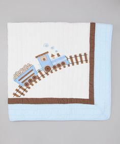 Look at this Light Blue & White Train Quilt on #zulily today!