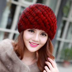 2017 New Fashion Real Mink Fur Hats For women Winter Hats For Lady Genuin Knitted Mink fur Ear Warm Cap Thick  female hat Wool