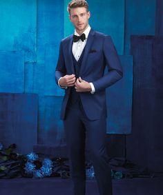 306b12589cb0 Allure Men | Cobalt Sharkskin Blue Tux Wedding, Wedding Tuxedos, Wedding  Suits, Lace